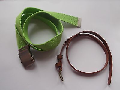 """Girls Belts Set of 2 Green Cotton 41.7 """" / 106 cm and Faux Leather  30.9""""/ 78 cm"""