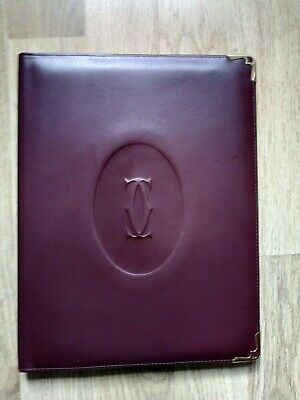 Vintage Must De Cartier Paris Burgundy Leather Cover For Document Agenda Book