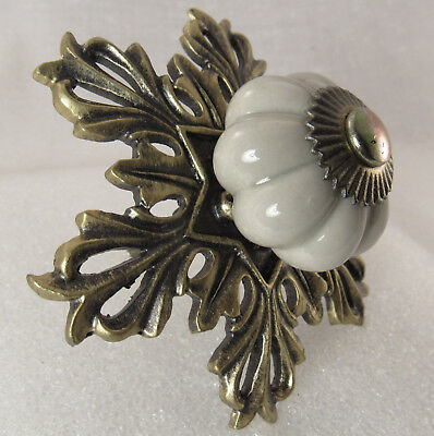 Charming Victorian Antique Brass porcelain Metal Drawer Cabinet Pull knob handle