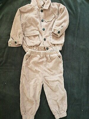 Girls 2 Piece Corduroy Outfit Set Pink Aged 3 Years