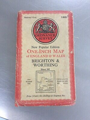 Brighton & Worthing Map One Inch Ordnance Survey (cloth) Vintage
