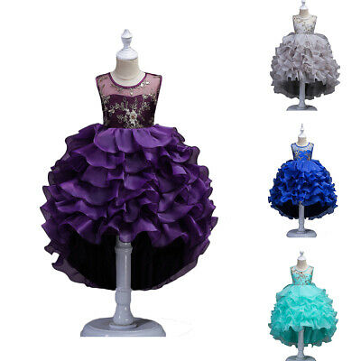 Kids Party Dress Girl Children Trailing Lace Dress For Makeup Prom Party clothes