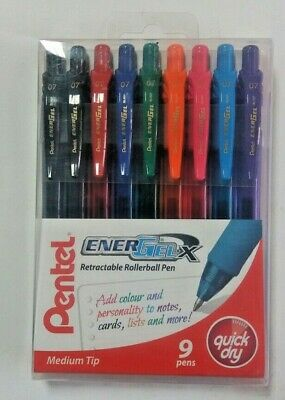Pack Of 9 Assorted Colors Pentel Energel Bl107 Retractable Rollerball Gel Pens