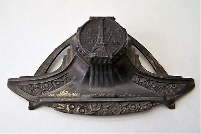 Late 19th Century French Paris Eiffel Tower Inkwell Pen Rest c/w Liner