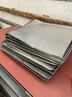 12x COMMERCIAL CATERING HEAVY DUTY LARGE Flat Shallow Roasting Trays Job Lot