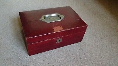 Antique Victorian / Edwardian Red Leather Bound Travel Jewellery Box Inner Tray