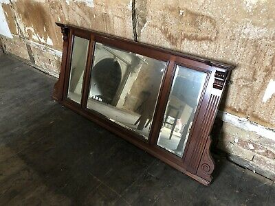 Large Edwardian Period Mahogany Carved Wooden Decorative Overmantle Mirror