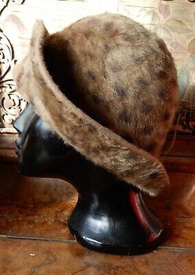 "Collectable True Vintage 'Jenny' Hat  Faux Fur Felt  Small Size 21"" or 53 cms"