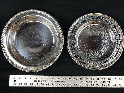 """2 WM Rogers #811 SilverPlate & Footed Round Serving Plate #860 Tray 10-1/4"""""""