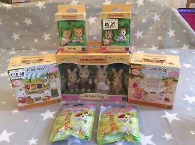 Sylvanian Families Boxed New Bundle Rabbit Family, Food Wagons And Twin Sets Etc