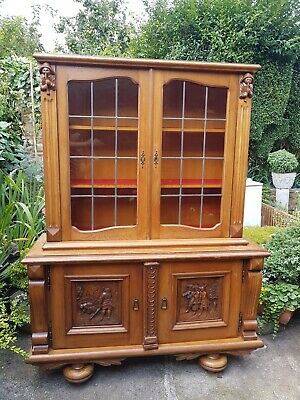 Vintage French Louis XIV Oak Bookcase/ Cabinet / Glass display/Sideboard