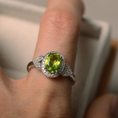 1.65 Ct Oval Cut Natural Peridot Diamond Wedding Ring 14K Solid White Gold Rings