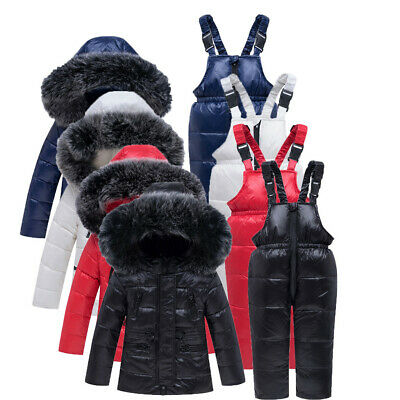 Toddler Kids Warm Girls Boys Hooded Down Jackets Outerwear Coats Jumpsuit P