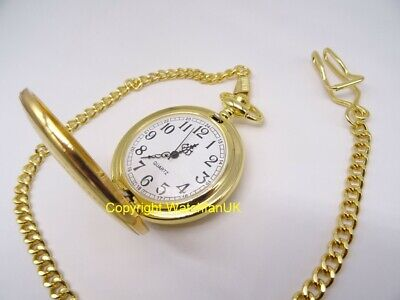Quartz Pocket Watch With Gold Tone Metal Case Chain and Classic Dial