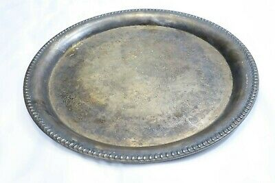 Vintage Silver Plate Large Round Ornate Serving Platter