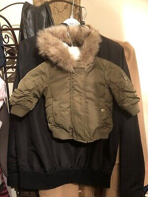 Baby Girls Winter Jacket With Hood Green, 3-6 Months, Faux Fur, Next Brand,