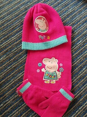 Peppa Pig Hat Scarf And Gloves Age 2 - 3 Years