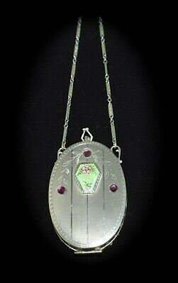 VERY PRETTY! Antique *ENAMEL GUILLOCHE & JEWELED* Floral OVAL Compact PURSE