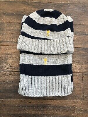 Smart Boys Striped Ralph Lauren Hat And Scarf, One Size.