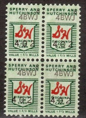 U.S. Sperry & Hutchinson S & H Green Discount For Cash Stamps Block of 4
