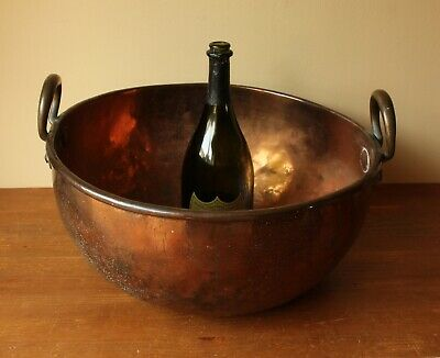 Antique Copper Chocolate Bowl. Large Round Rustic Log Bin, Planter, Table Decor