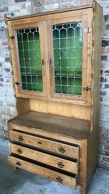 Antique Oak Kitchen Dresser Leaded Stained Glass Display Cabinet Bookshelf Count