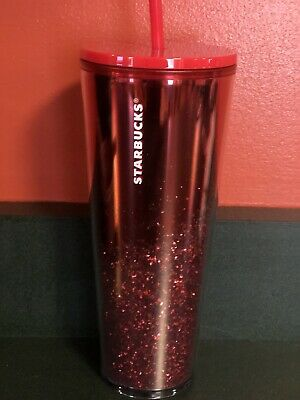 STARBUCKS 2019 Holiday Limited Edition Red Cascading Glitter Tumbler 24 oz Venti
