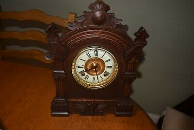 Antique 19th Century Ansonia Mahogany Architectural Mantel Clock (Key Pendulum)