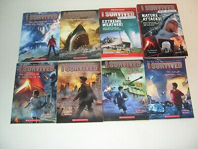"Lot Of 8 Books In The ""I Survived"" Series By Lauren Tarshis ~ Rl Grades 4-6+"