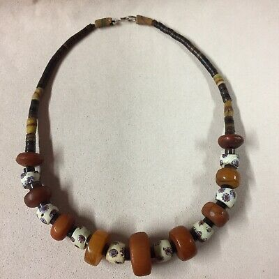 Antique Baltic Amber/ Trade Bead Necklace 21.5""