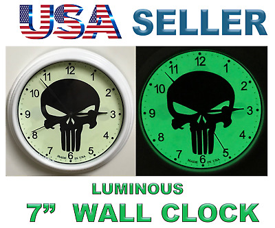 "The Punisher 7"" Wall Clock Green Strong Luminous DIAL Marvel Comics Home decor"