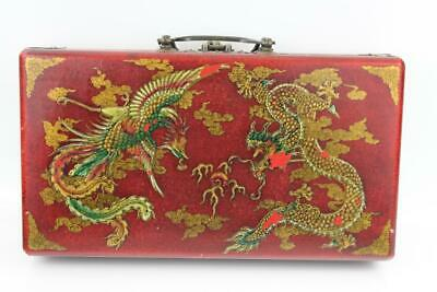Vintage Chinese Wood & Red Leather Hand Painted Bead Arithmetic Abacus Case