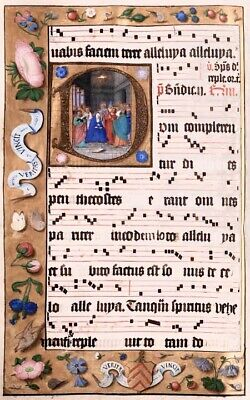"Collection of 2 Antiphonary manuscript 18x12"" FINE ART illumination   - NEW"