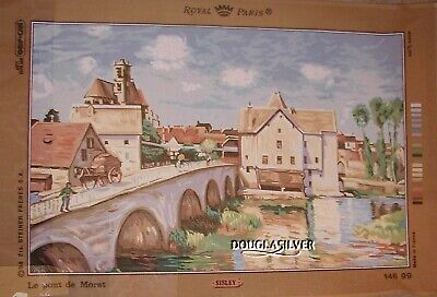 Royal Paris Needlepoint Canvas Unused French Village On River