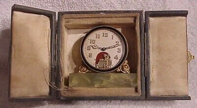 Antique Miniature 1800'S Swiss Animated Cherub Beating On Drums Clock In Case