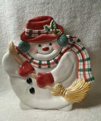 Fitz & Floyd Essentials Snowman Canape Serving Dish Christmas Holiday