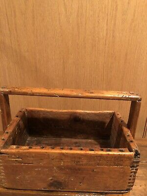 Antique - Primitive Wooden Tool Tote- Carryall With Beautiful Finger joint Seams