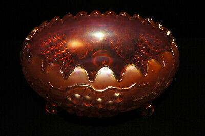 "Antique Large 9 1/2""  FOOTED MARIGOLD NORTHWOOD FRUIT BOWL Carnival Glass"