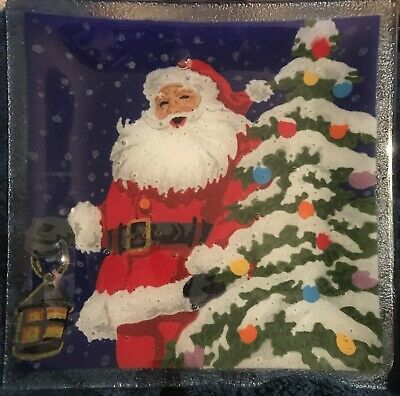 Peggy Karr Fused Art Glass Plate Square 10 inch Santa Plate