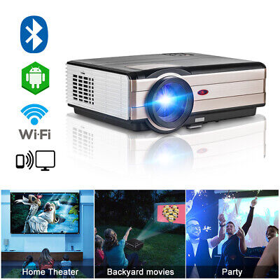 Android 6.0 WIFI Home Cinema HD Projector Bluetooth 1080P Film Video HDMI USB TV