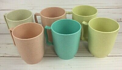 Vintage Gothamware USA Melmac Cups Tan Blue Yellow And Pink Speckled Set of 6