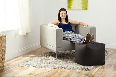 Black Faux Leather Cube Bean Bag Pouffe Foot Stool Beanbag Footstool Square Seat