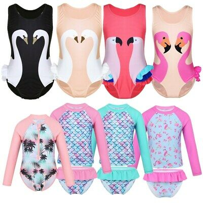 Toddler Girls Swimwear Swimsuit Kids Cute Flamingo Bikini Bathing Suit Beachwear