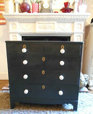 Original  Antique  Victorian  Painted  Chest  Of  Drawers