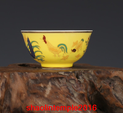 """3.8""""Asian China antique mark Daming Chenghua Fighting colours chicken cup"""