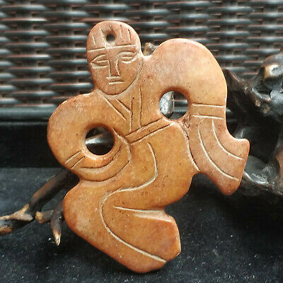 Chinese master hand-carved red mountain culture old amulet pendant jade