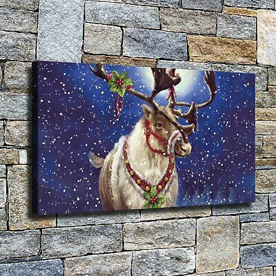 """12""""x22""""Blue night elk HD Canvas Home Decor Wall art Paintings pictures photos"""