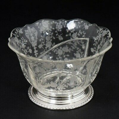 """Wallace #4640 Sterling Silver Footed Divided Crystal Bowl Floral Etching 5.5"""""""