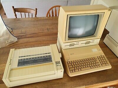 Vintage Apple IIe + Monitor + DuoDisk + Protective Covers + Image Writer Printer