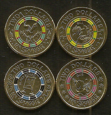 2019 Australia Uncirculated MR SQUIGGLE 2 Two Dollar $2 Coin Set UNC (2)